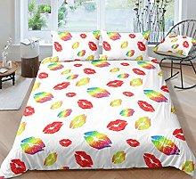 UMOOIN Kiss Duvet Cover Set, Lips Pattern