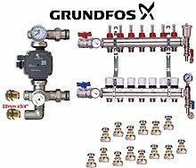 Underfloor Heating Complete Manifold Kit+Grundfos