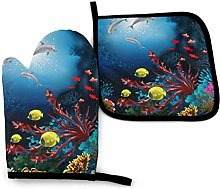 Underwater Dolphins Coral Fish Oven Mitts and Pot