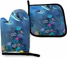 Underwater World Dolphins Coral Oven Mitts and Pot