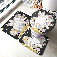 Unicorn Bathmat,Cute Unicorn with White Wings And
