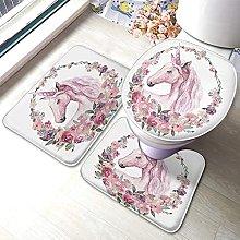 Unicorn Bathmat,Funny Unicorn With Pastel Flower