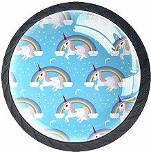Unicorn Blue Rainbow 4 Pieces Crystal Glass