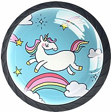 Unicorn Cartoon Blue 4 Pieces Crystal Glass