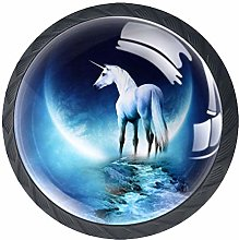 Unicorn Crystal Glass Round Cabinet knob with