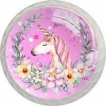 Unicorn Design Pink Z088 White Drawer Handles