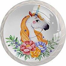 Unicorn Floral White Mushroom Cabinet Knobs Knobs