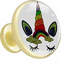 Unicorn Head Rainbow 4 Piece Crystal Gold Knobs