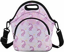 Unicorn Lunch Bag,Soft Neoprene Insulated Purple