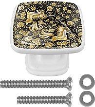 Unicorn Pattern Mushroom Cabinet Knobs 4 Pack