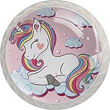 Unicorn Pink 4PCS Round Shape Cabinet Knobs for