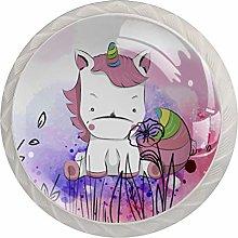 Unicorn Pink Drawer Knob Pull Handle Glass Knobs