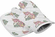 Unicorn Pink Grove Heat Resistant Oven Gloves