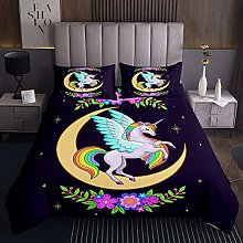Unicorn Quilted Coverlet Magical Animal Bedspread