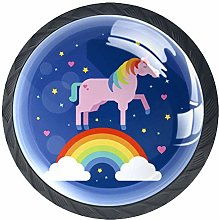 Unicorn Rainbow Dark Blue 4 Pieces Crystal Glass