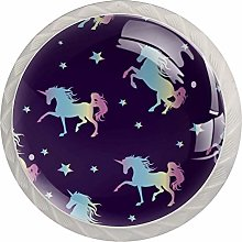 Unicorn Silhouette 4PCS Drawer Knobs,Cabinet