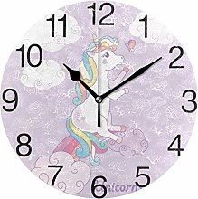 Unicorn with Clouds Round Wall Clock, Silent