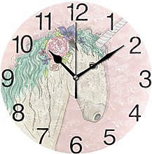 Unicorn with Flower Round Wall Clock, Silent