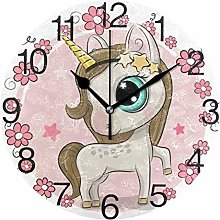 Unicorn with Flowers Round Wall Clock, Silent