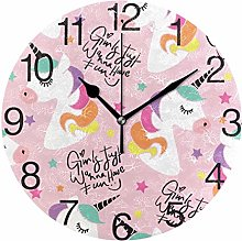 Unicorn with Hair Colorful Round Wall Clock,