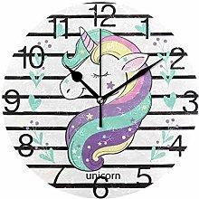 Unicorn with Stripe Round Wall Clock, Silent