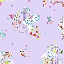 Unicorns & Castles Fantasy Kids Girls Wallpaper -