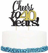 Unimall 1Pc Cheers to 40 Years Happy Birthday Cake