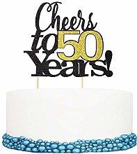 Unimall 1Pc Cheers to 50 Years Happy Birthday Cake
