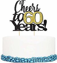 Unimall 1Pc Cheers to 60 Years Happy Birthday Cake