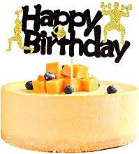 Unimall 1Pc Glitter Gym Theme Birthday Cake Topper