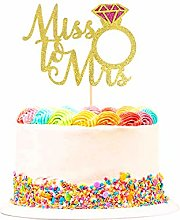 Unimall 1Pc Miss to Mrs Cake Topper Gold Glitter