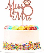 Unimall 1Pc Rose Gold Miss to Mrs Cake Topper