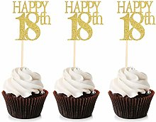 Unimall 24Pcs 18 Cupcake Toppers Happy 18th