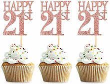 Unimall 24Pcs 21 Cupcake Toppers Happy 21st