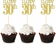 Unimall 24Pcs 30 Cupcake Toppers Happy 30th
