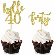 Unimall 24Pcs 40 Cupcake Toppers Happy 40th