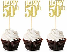 Unimall 24Pcs 50 Cupcake Toppers Happy 50th