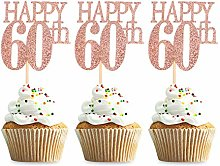 Unimall 24Pcs 60 Cupcake Toppers Happy 60th