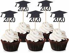 Unimall 24Pcs Black Glitter 2020 Congrats