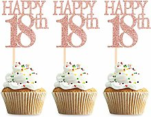 Unimall 24Pcs Happy 18th Cupcake Toppers 18 Cake