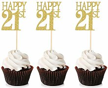 Unimall 24Pcs Happy 21st Cupcake Toppers 21