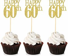 Unimall 24Pcs Happy 60th Cupcake Toppers 60 Cake