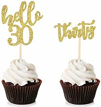 Unimall 24Pcs Hello 30 Cupcake Toppers Happy 30th