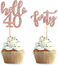Unimall 24Pcs Hello 40 Cupcake Toppers Happy 40th