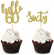 Unimall 24Pcs Hello 60 Cupcake Toppers Happy 60th