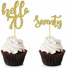Unimall 24Pcs Hello 70 Cupcake Toppers Happy 70th