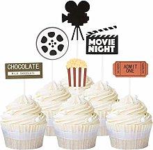 Unimall 24Pcs Movie Cupcake Toppers Movie Night