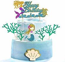 Unimall 7 Pieces Glitter Mermaid Theme Birthday