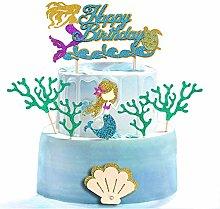 Unimall 7Pcs Glitter Mermaid Theme Birthday Cake