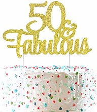 Unimall Glitter 50 & Fabulous Cake Topper Happy